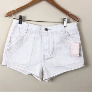 "Free People • High Waisted White Shorts 10.5"" Rise"